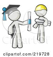 Royalty Free RF Clipart Illustration Of A White Man Graduate And White Man Contractor