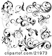 Clipart Picture Illustration Of A Collection Of Black Leafy Vines And Accents On A White Background