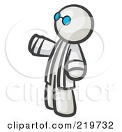 Royalty Free RF Clipart Illustration Of A White Man Scientist Wearing Blue Glasses And A Lab Coat
