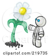 Royalty Free RF Clipart Illustration Of A White Man Scientist Admiring A Giant White Daisy Flower