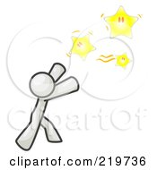 Royalty Free RF Clipart Illustration Of A White Man Reaching For The Stars by Leo Blanchette