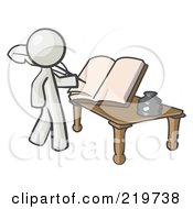 Royalty Free RF Clipart Illustration Of A White Man Author Writing History On Blank Pages Of A Book