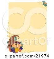 Clipart Illustration Picture Of An Autumn Thanksgiving Stationery Background With A Pumpkin Grapes And Pears In A Cornucopia With Wheat