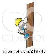 Royalty Free RF Clipart Illustration Of A White Man Design Masccot Worker Climbing A Phone Pole