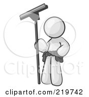 Royalty Free RF Clipart Illustration Of A White Man Window Cleaner Standing With A Squeegee by Leo Blanchette