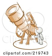 Royalty Free RF Clipart Illustration Of A White Man Looking Through A Huge Telescope Up At The Stars In The Night Sky