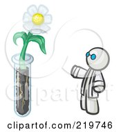 Royalty Free RF Clipart Illustration Of A White Man Scientist By A Giant White Daisy Flower In A Test Tube by Leo Blanchette