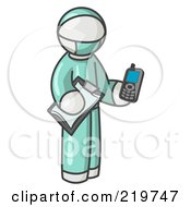Royalty Free RF Clipart Illustration Of A White Surgeon Man Holding A Clipboard And Cellular Telephone