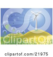 Wishy Blow Dandelions Being Blown In A Breeze Cast By A Wind Turbine On A Hilly Landscape