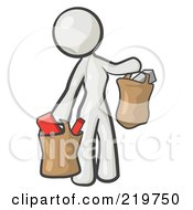Royalty Free RF Clipart Illustration Of A White Woman Carrying Paper Grocery Bags by Leo Blanchette
