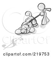 Royalty Free RF Clipart Illustration Of A White Man Walking A Dog That Is Pulling On A Leash To Sniff A Shadow Of A Dollar Sign On The Ground by Leo Blanchette