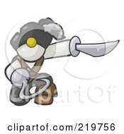 Royalty Free RF Clipart Illustration Of A Kneeling White Man Pirate With A Hook Hand And A Sword by Leo Blanchette