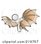 Royalty Free RF Clipart Illustration Of A Determined White Man Strapped In Glider Wings Prepared To Make Flight