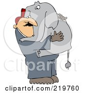 Royalty Free RF Clipart Illustration Of A Zoo Worker Carrying An Elephant In His Arms