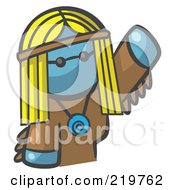 Royalty Free RF Clipart Illustration Of A Denim Blue Woman Avatar Hippie Waving