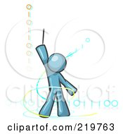 Royalty Free RF Clipart Illustration Of A Denim Blue Design Mascot Man Composing Binary Code