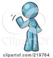 Royalty Free RF Clipart Illustration Of A Denim Blue Design Mascot Woman Waving