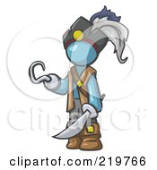 Royalty Free RF Clipart Illustration Of A Denim Blue Man Pirate With A Hook Hand And A Sword by Leo Blanchette