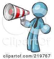 Royalty Free RF Clipart Illustration Of A Denim Blue Design Mascot Man Announcing With A Megaphone