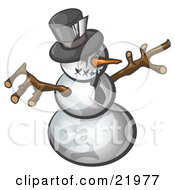Clipart Picture Illustration Of A Wicked Snowman With A Stitched Mouth And Carrot Nose Wearing A Tie And Hat