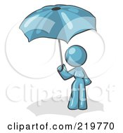 Royalty Free RF Clipart Illustration Of A Denim Blue Design Mascot Woman Under An Umbrella by Leo Blanchette