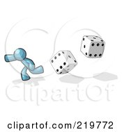 Royalty Free RF Clipart Illustration Of A Denim Blue Design Mascot Man Running From Dice by Leo Blanchette