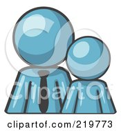 Royalty Free RF Clipart Illustration Of A Denim Blue Child Or Employee Standing Beside A Bigger Blue Businessman Symbolizing Management Parenting Or Mentorship