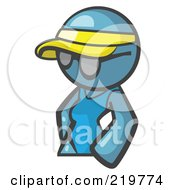 Royalty Free RF Clipart Illustration Of A Denim Blue Woman Avatar Wearing A Visor And Shades by Leo Blanchette