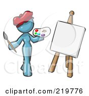 Royalty Free RF Clipart Illustration Of A Denim Blue Design Mascot Woman Artist Painting A Portrait