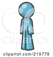 Royalty Free RF Clipart Illustration Of A Denim Blue Design Mascot Man Standing Up Straight by Leo Blanchette