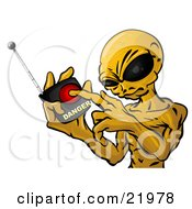 Clipart Picture Illustration Of A Mean Green Alien With Big Black Eyes Threatening To Push A Button On A Detonator To Blow Up Earth