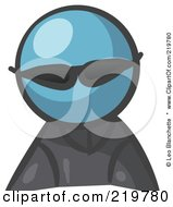 Royalty Free RF Clipart Illustration Of A Denim Blue Man Avatar Spy Wearing Shades