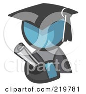Royalty Free RF Clipart Illustration Of A Denim Blue Man Avatar Graduate Holding A Diploma