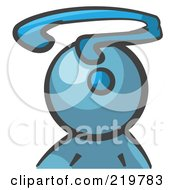 Royalty Free RF Clipart Illustration Of A Denim Blue Man Avatar With A Question Mark