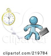 Royalty Free RF Clipart Illustration Of A Denim Blue Design Mascot Man Running Late For Work Over A Crack With A Clock by Leo Blanchette