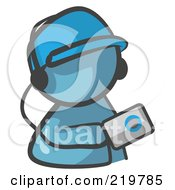 Denim Blue Man Avatar Holding An Mp3 Player