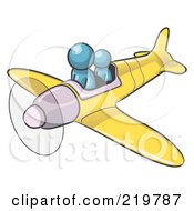 Royalty Free RF Clipart Illustration Of A Denim Blue Design Mascot Man Flying A Plane With A Passenger
