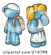 Royalty Free RF Clipart Illustration Of A Denim Blue School Boy And Girl With Backpacks