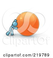 Royalty Free RF Clipart Illustration Of A Strong Denim Blue Business Man Pushing An Orange Sphere