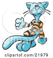 Cool Blue Cat With A Long Tail Wearing And Strutting His Orange And Black Striped Pajamas