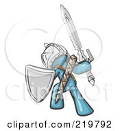 Royalty Free RF Clipart Illustration Of A Denim Blue Design Mascot Man Ultimate Warrior With A Sword And Shield