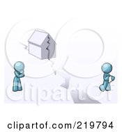 Royalty Free RF Clipart Illustration Of A Denim Blue Design Mascot Man And Woman With A House Divided