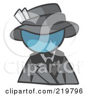 Royalty Free RF Clipart Illustration Of A Denim Blue Man Avatar Dressed For A Night On The Town