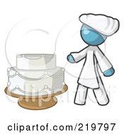 Denim Blue Woman Wedding Cake Maker
