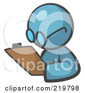 Royalty Free RF Clipart Illustration Of A Denim Blue Man Avatar Writing Notes On A Clipboard
