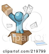 Royalty Free RF Clipart Illustration Of A Denim Blue Design Mascot Man Going Postal With Parcels And Mail by Leo Blanchette