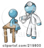 Royalty Free RF Clipart Illustration Of A Denim Blue Man Doctor Examining A Child