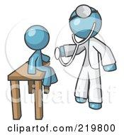 Denim Blue Man Doctor Examining A Child by Leo Blanchette