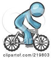 Denim Blue Man Riding A Bicycle by Leo Blanchette