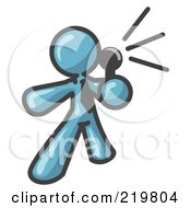 Royalty Free RF Clipart Illustration Of A Denim Blue Man A Comedian Or Vocalist Wearing A Tie Standing On Stage And Holding A Microphone While Singing Karaoke Or Telling Jokes Clipart Illustration by Leo Blanchette